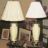 Pair of Enameled Brass Lamps