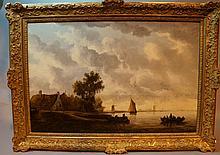 Wouter KNYFF (École Hollandaise du XVIIème siècle) Bord de mer Huile sur panneau 62 x 93 cm (ce tableau avait été acquis le 22 décembre 1937à Londres lors de la vente Gutzwiller)