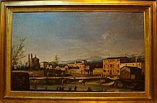 École Vénitienne autour de Canaletto (XVIIIème siècle) Paysage fluvial animé Huile sur toile 62 x 102 cm