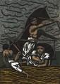 Jean-Marc LANGE (né en 1945)   Un dimanche à Sabodia, 1991  Pastel sur Arches   Au dos signé, daté et titré   75 x 54 cm   Exposition :  Galerie Blondel, 1991 (ancienne étiquette au dos).   300/500