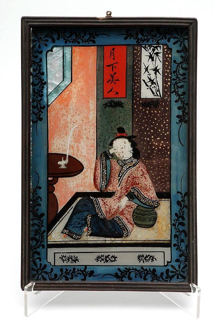 CHINESE SCHOOL 18/19TH CENTURY. PIPE SMOKING FEMALE FIGURE
