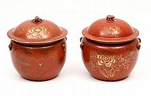 PAIR OF POTS WITH LIDS, 一双的有盖壶