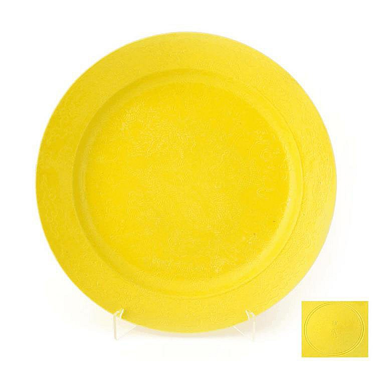 LARGE YELLOW GLAZED PLATE