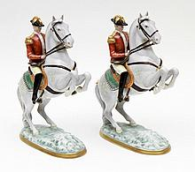 PAIR OF EQUESTRIAN SCULPTURES