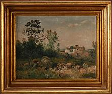 JOSÉ FRANCO CORDERO (1851-1910), COUNTRY LANDSCAPE WITH A HOUSE