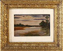 PORTUGUESE SCHOOL 20TH CENTURY, LANDSCAPE WITH RIVER