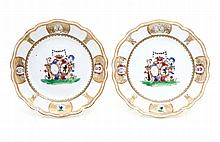 PAIR OF PLATES WITH COATS OF ARMS