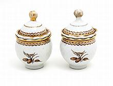 PAIR OF CREAM BOWLS WITH LID