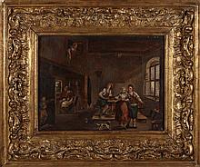 DUTCH SCHOOL, 19TH CENTURY, INTERIOR SCENE WITH FIGURES