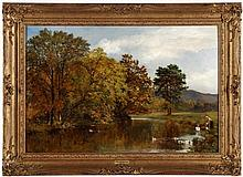 JOHN SURTEES (1817-1915), SCENERY WITH A LAKE, FIGURES AND DUCKS