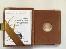 2014-W 1/10 oz $5 Gold Proof American Eagle-Original BOX W/COA Rare