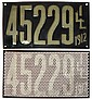 License plates (pr), Illinois 1912, VG+ cond