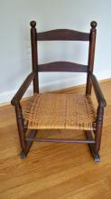 Vintage Child's Rocker with Rush Seat and Child's School Chair