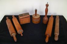Group of Antique Wooden Kitchen Items