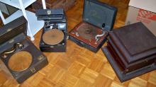 Group of 3 Portable Wind Up Phonographs and 1 Tabletop in Wooden Case