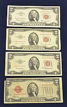 4 US $2.00 Red Seal Notes