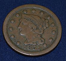 1851 US Braided Hair Large Cent