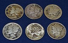 6 US Mercury Dimes