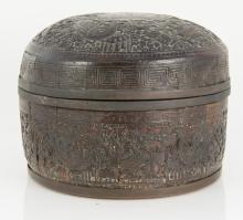 Chinese 18th / 19th Century Round Wood and Metal Marked Box