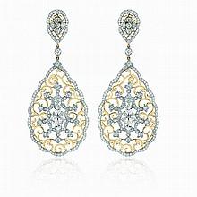 white sapphire and Diamond earrings