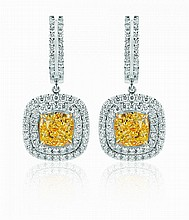 A pair of yellow diamond earrings