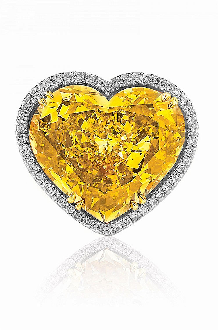 VERY IMPORTANT HEART SHAPED YELLOW DIAMOND