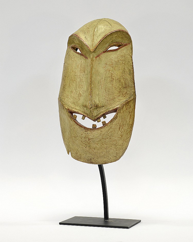 A PAINTED WOOD YU'PIK NORTHERN ALASKAN DANCE MASK ,