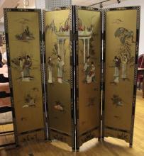 Asian lacquered/gilt raised figure four-panel folding dressing screen:...