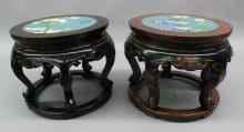 Furniture: pair of Asian mahogany cloisonné top side tables/jardinière stands: c...