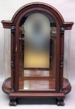 Furniture: fine mahogany dome top china cabinet with three mahogany shelves, bow...