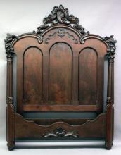 Furniture: ornate Victorian walnut high back bed, 89â?쳌T X 77â?쳌L interior X 61 ½â?쳌W;...