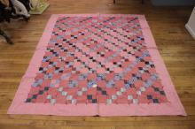 Tied/pieced block pattern bed quilt, small size; very good ...