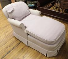 Furniture: Bake Furniture Co. overstuffed chaise lounge, typical fade & wear to ...