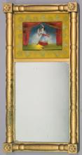 Framed two- part reverse painted hanging mirror, paint loss to frame, chip in mi...