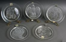 (5) Lalique Annual Collector Plates: 1972 Coquillage, 1973 Jayling, 1974 SilverP...