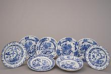 A group of 8 Chinese porcelain blue and white plates, 18th C.
