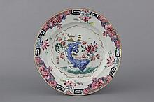 A Chinese porcelain famille rose plate, Yongzheng or Qianlong, 18th C.
