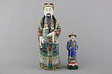 Two Chinese porcelain figures of immortals, 19/20th C.