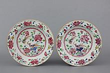 A pair of Chinese porcelain famille rose plates with birds, 18th C.