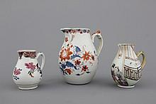 A group of 3 various Chinese porcelain jugs, 18th C.