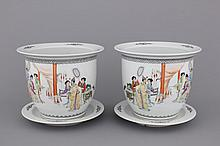 A pair of Chinese porcelain famille rose jardinieres on stand, 20th C.