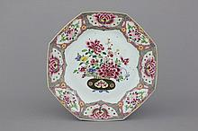 A large Chinese porcelain famille rose butterfly dish, 18th C.