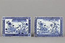 A pair of Chinese porcelain blue and white rectangular tiles, 18th C.