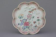 A large Chinese porcelain famille rose lotus-shaped tray, 18th C.