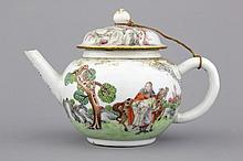 A very fine Chinese export porcelain teapot and cover, Qianlong, 18th C.