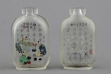 Two Chinese reverse painted glass snuff bottles, 19/20th C.