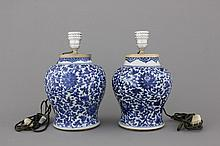 A pair of Chinese porcelain blue and white vases mounted as lamps, Kangxi, ca. 1700