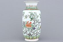 A Chinese porcelain wucai vase, 19/20th C.