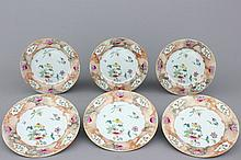 A set of 6 Chinese export porcelain plates with faux-marbre border, 18th C.