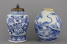 A blue and white Chinese porcelain dragon vase and a Japanese vase with a tiger, 19th C.